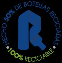 Hecho 50% de botellas recicladas